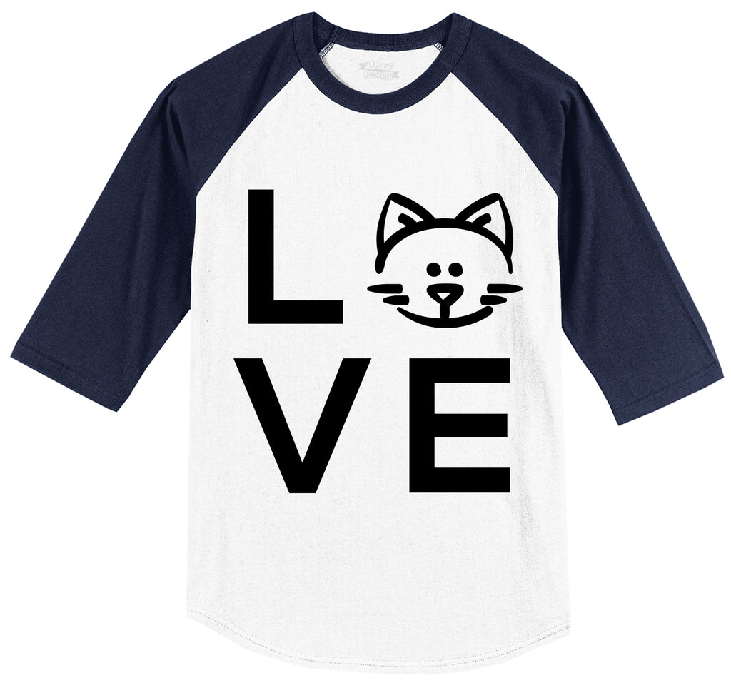Love Cat Mens 3/4 Sleeve Raglan Jersey