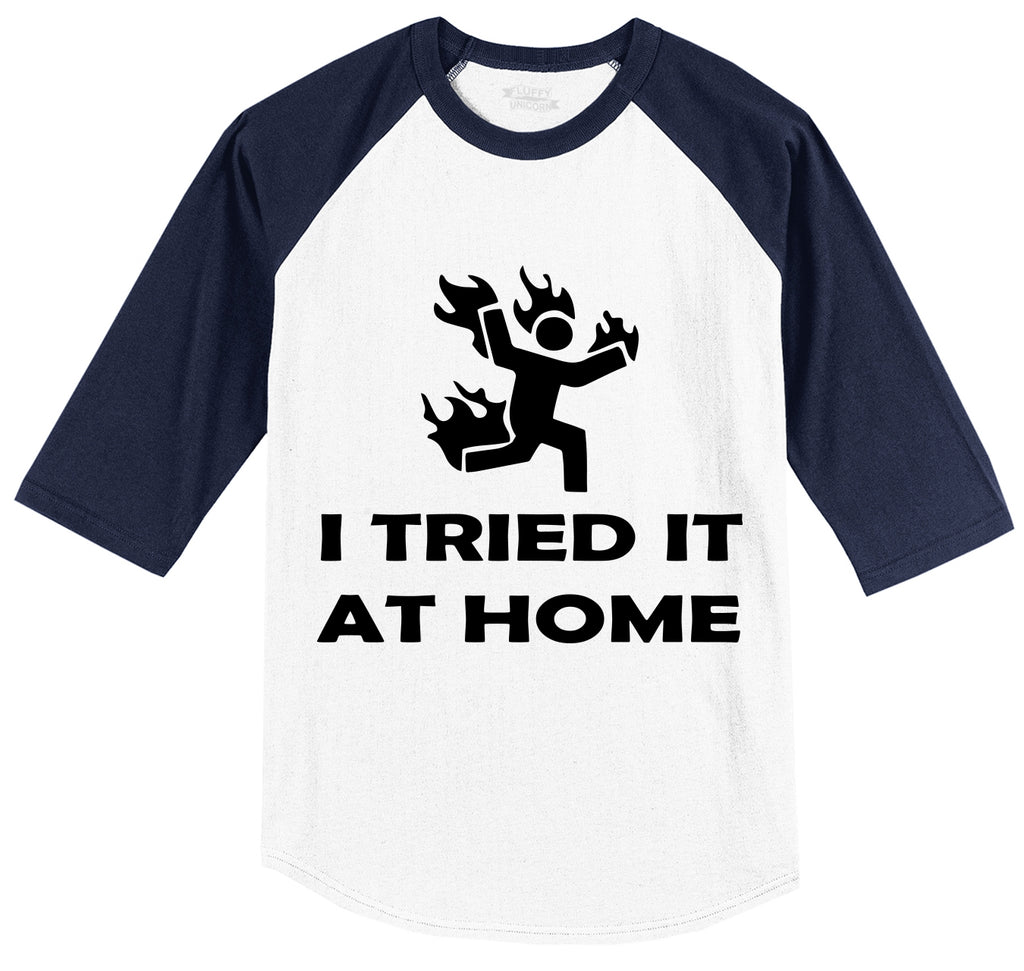 I Tried It At Home Mens 3/4 Sleeve Raglan Jersey