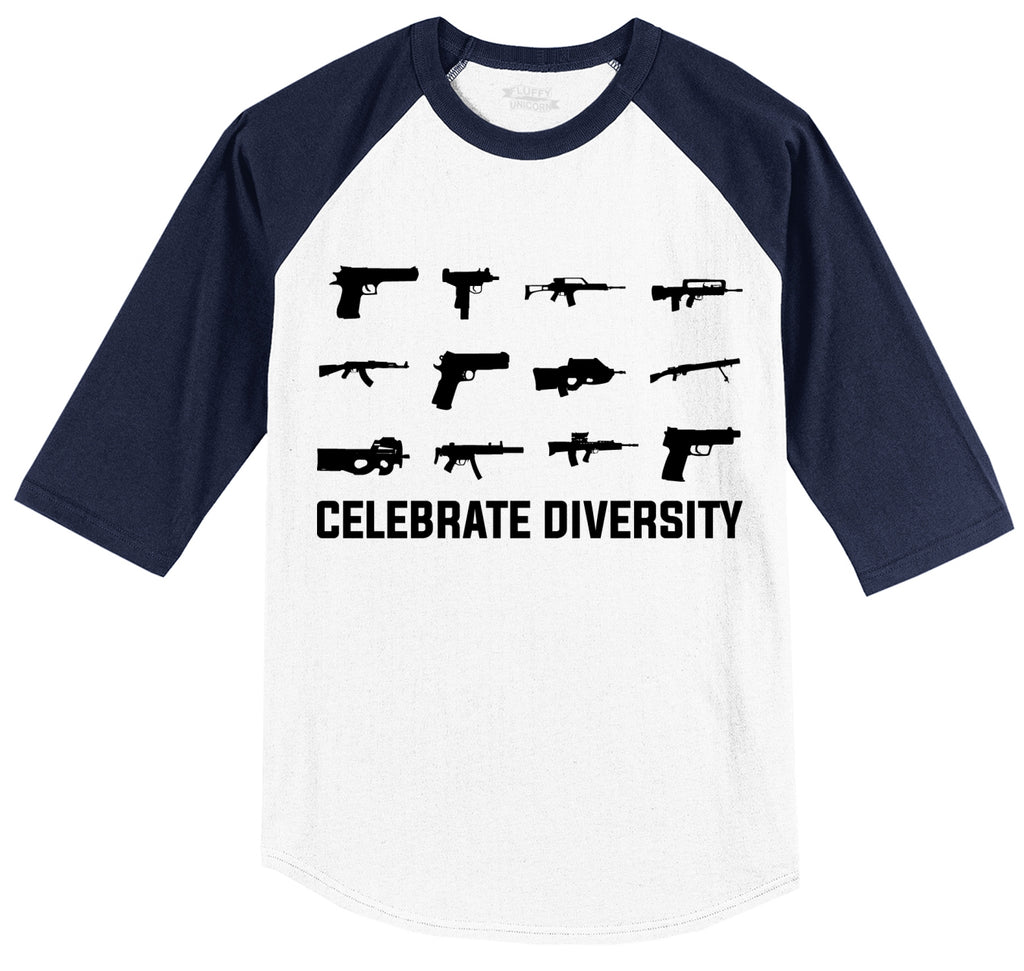 Celebrate Diversity Funny Gun Rights Shirt Mens 3/4 Sleeve Raglan Jersey