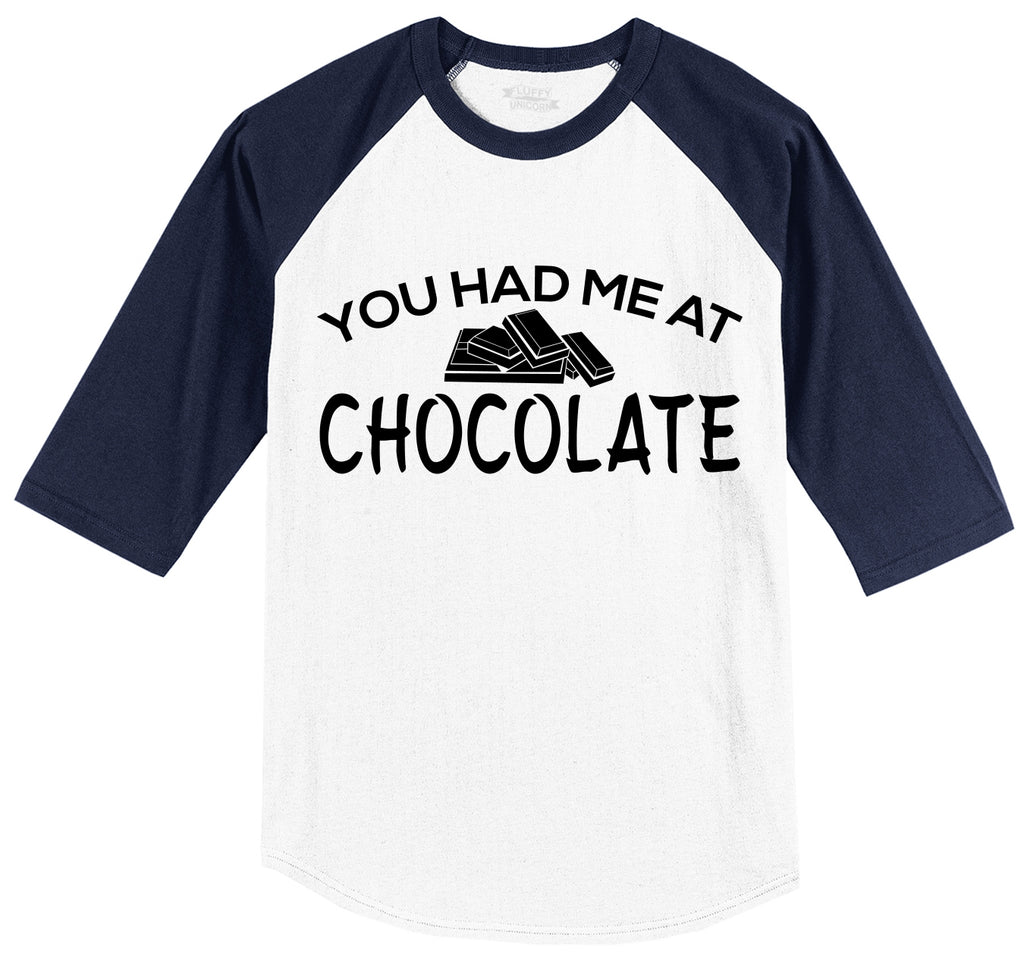 You Had Me At Chocolate Funny Tee Valentines Day Gift Tee Mens 3/4 Sleeve Raglan Jersey