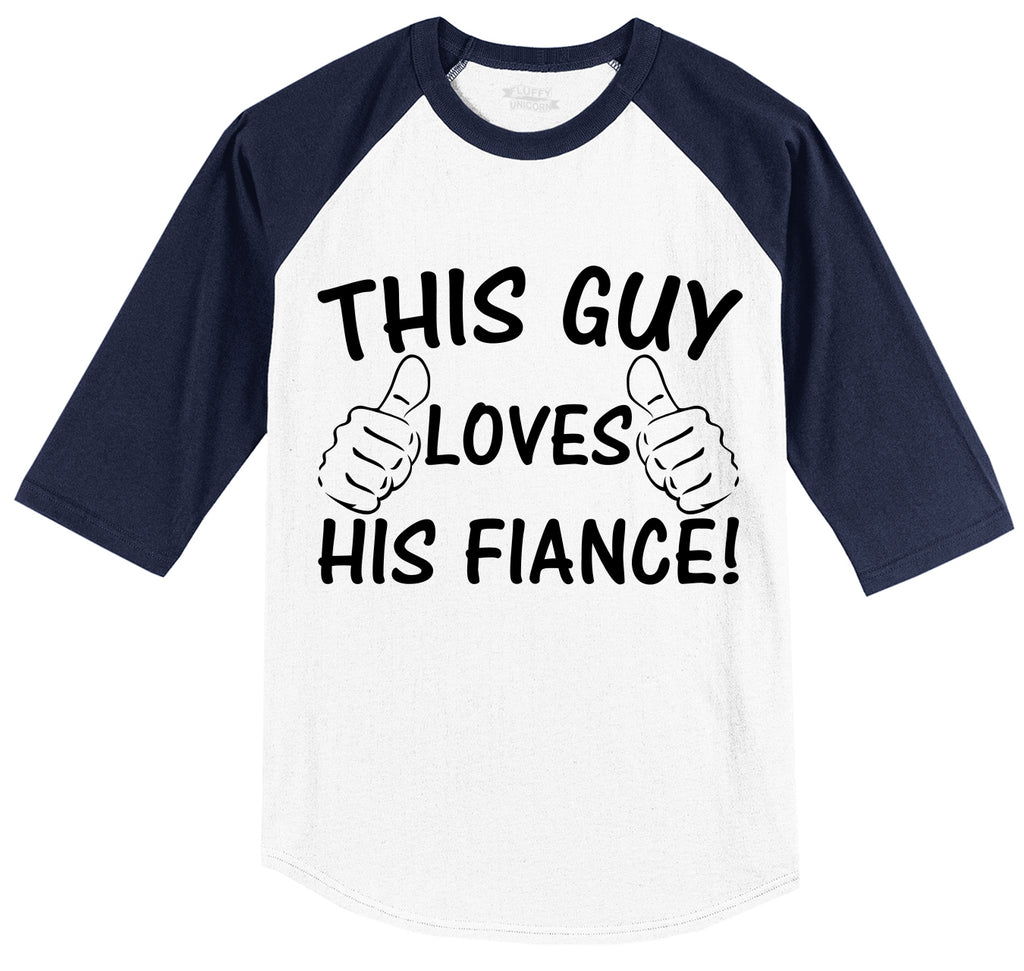 This Guy Loves His Fiance Mens 3/4 Sleeve Raglan Jersey