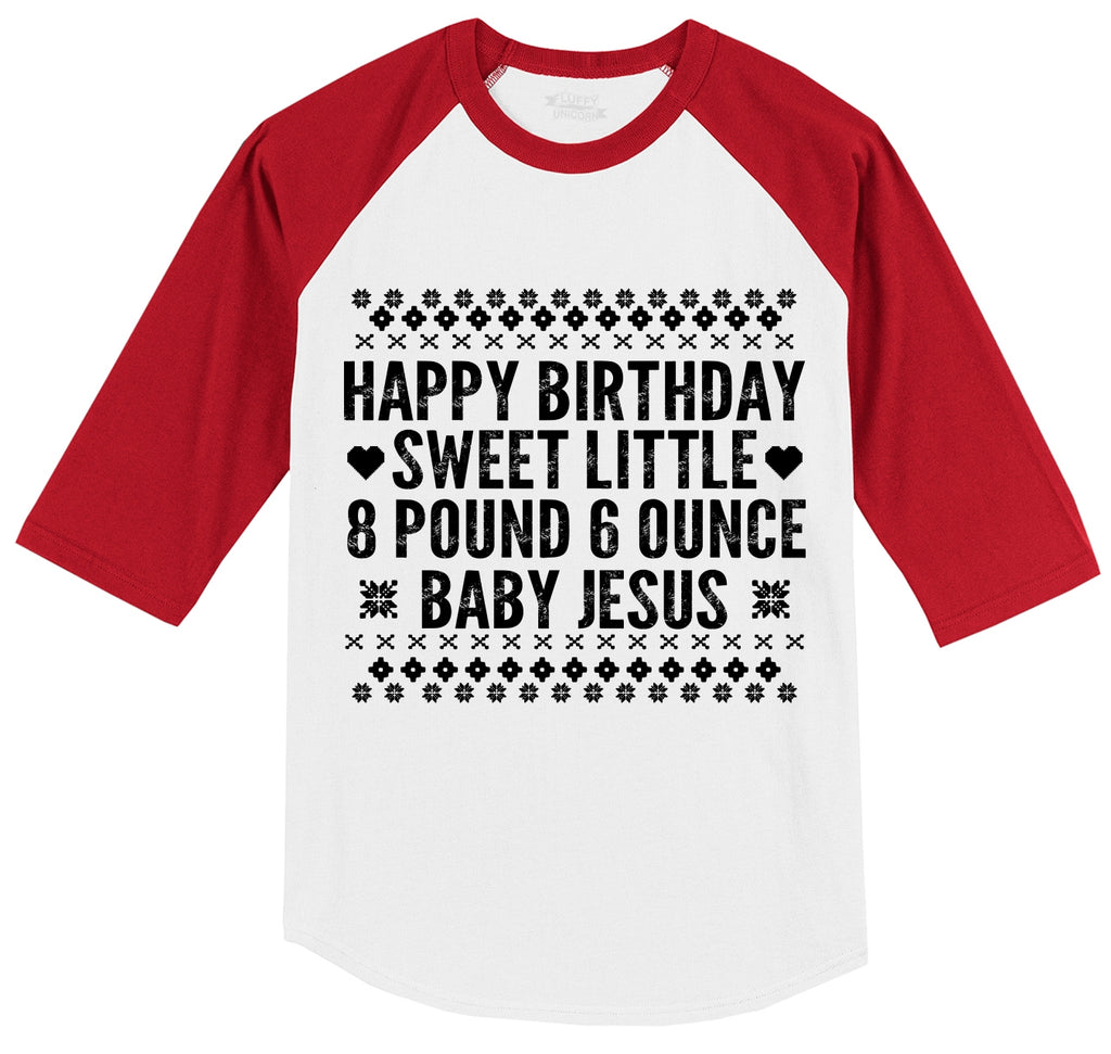 Happy Birthday Sweet Baby Jesus Mens 3/4 Sleeve Raglan Jersey