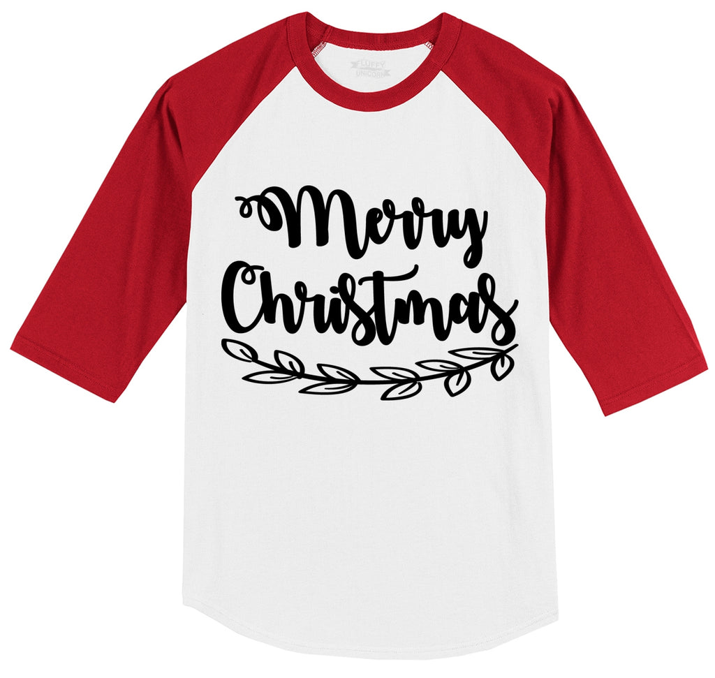 Merry Christmas Mens 3/4 Sleeve Raglan Jersey