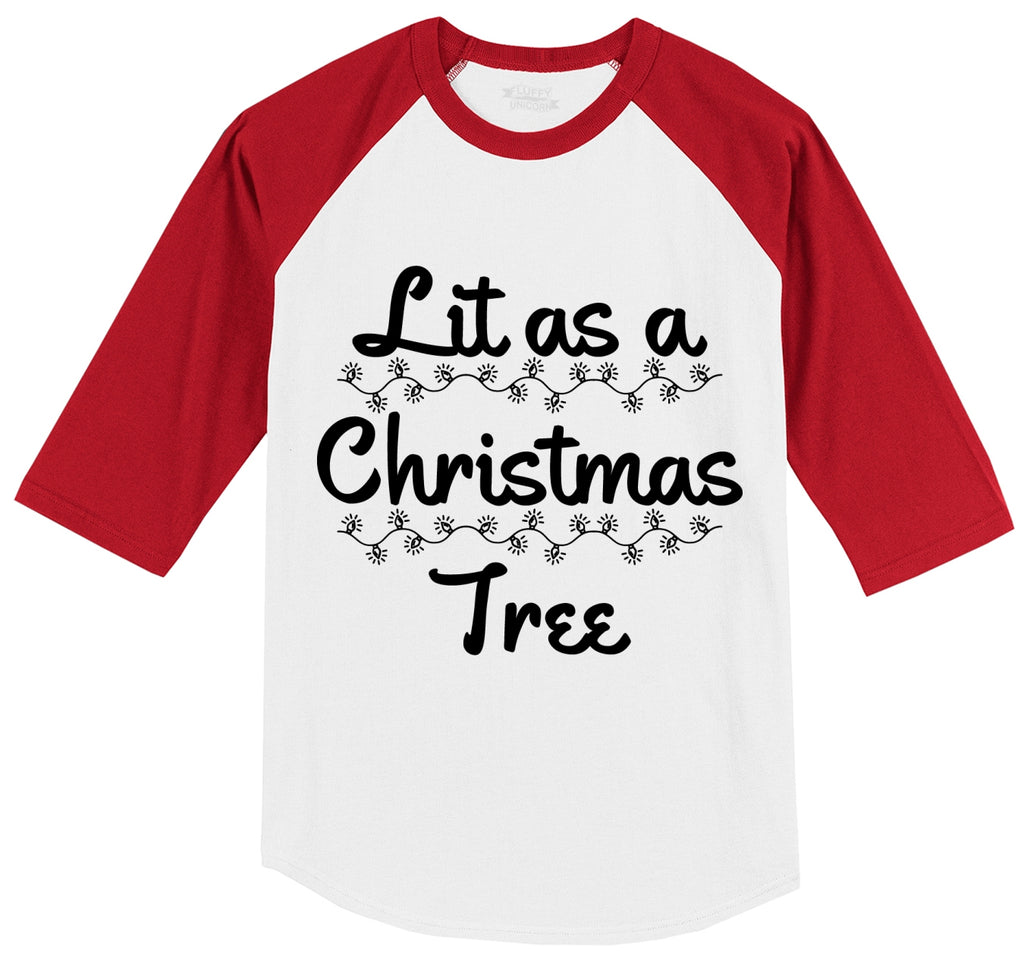 Lit As A Christmas Tree Mens 3/4 Sleeve Raglan Jersey