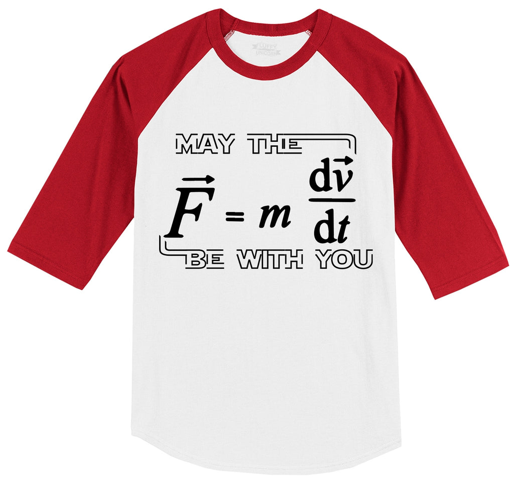 May The Force Be With You Funny Math Shirt Mens 3/4 Sleeve Raglan Jersey