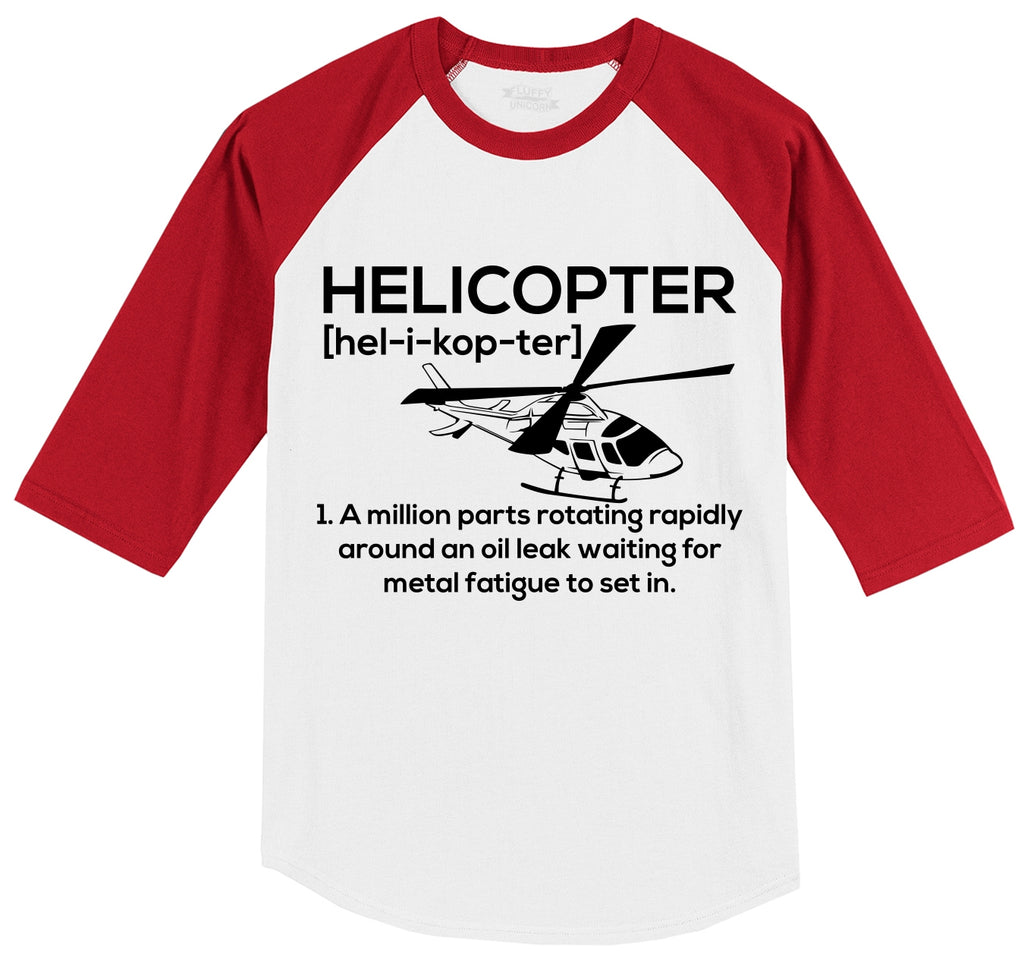 Funny Helicopter Pilot Gift Tee Mens 3/4 Sleeve Raglan Jersey