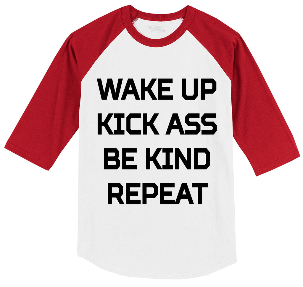 Wake Up Kick Ass Be Kind Repeat Graphic Tee Southern Values Gift Tee Mens 3/4 Sleeve Raglan Jersey