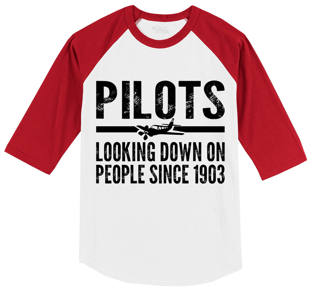 Pilots Looking Down On People Since 1903 Funny Aviation Shirt Mens 3/4 Sleeve Raglan Jersey