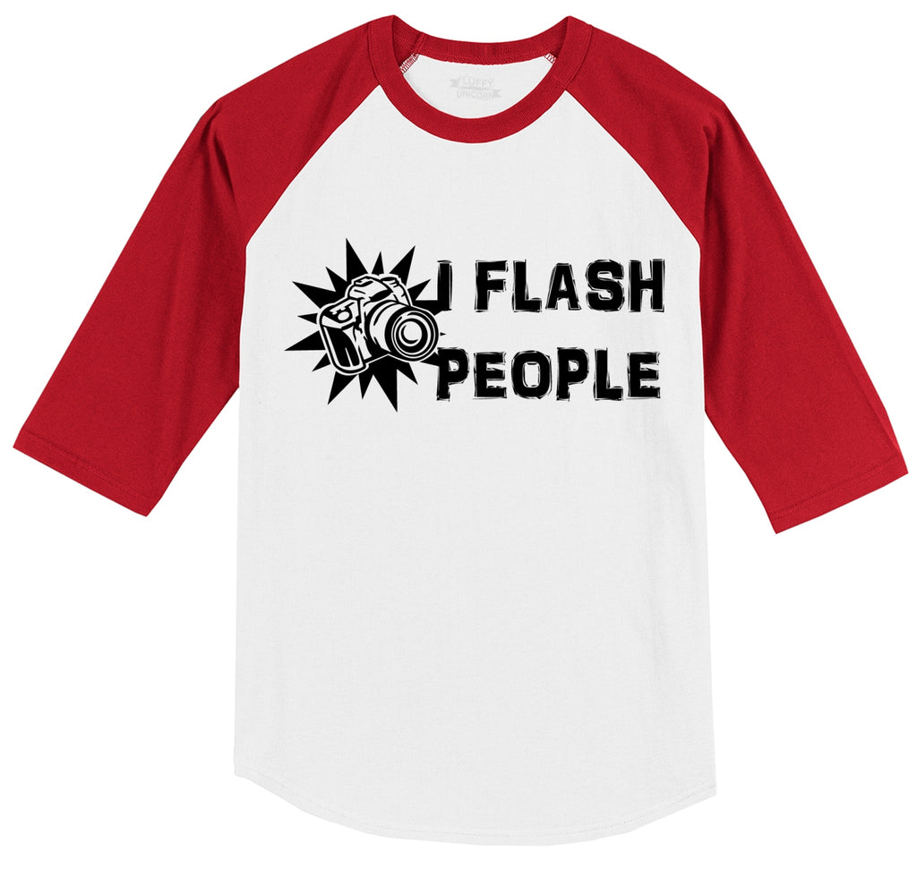 I Flash People Mens 3/4 Sleeve Raglan Jersey