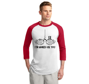 I'm Hooked On You Funny Tee Fish Valentines Day Gift Tee Mens 3/4 Sleeve Raglan Jersey