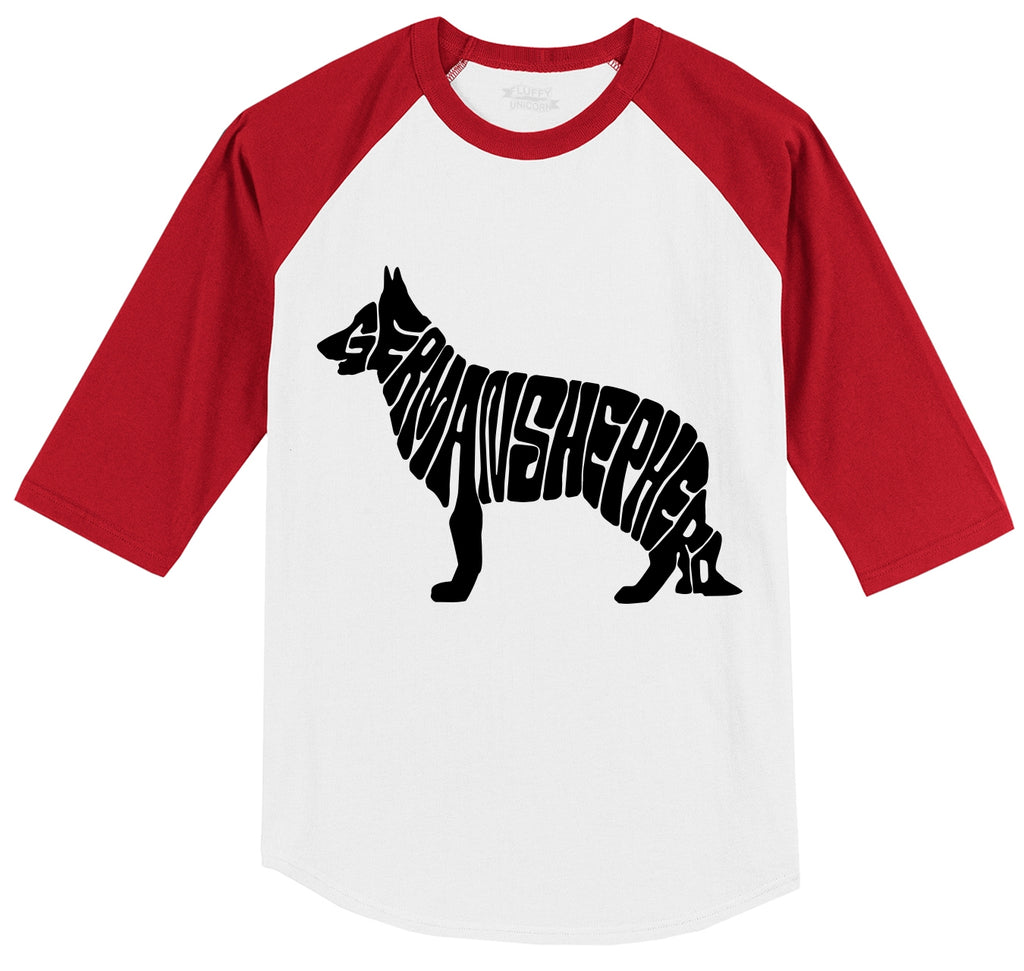 German Shepherd Mens 3/4 Sleeve Raglan Jersey