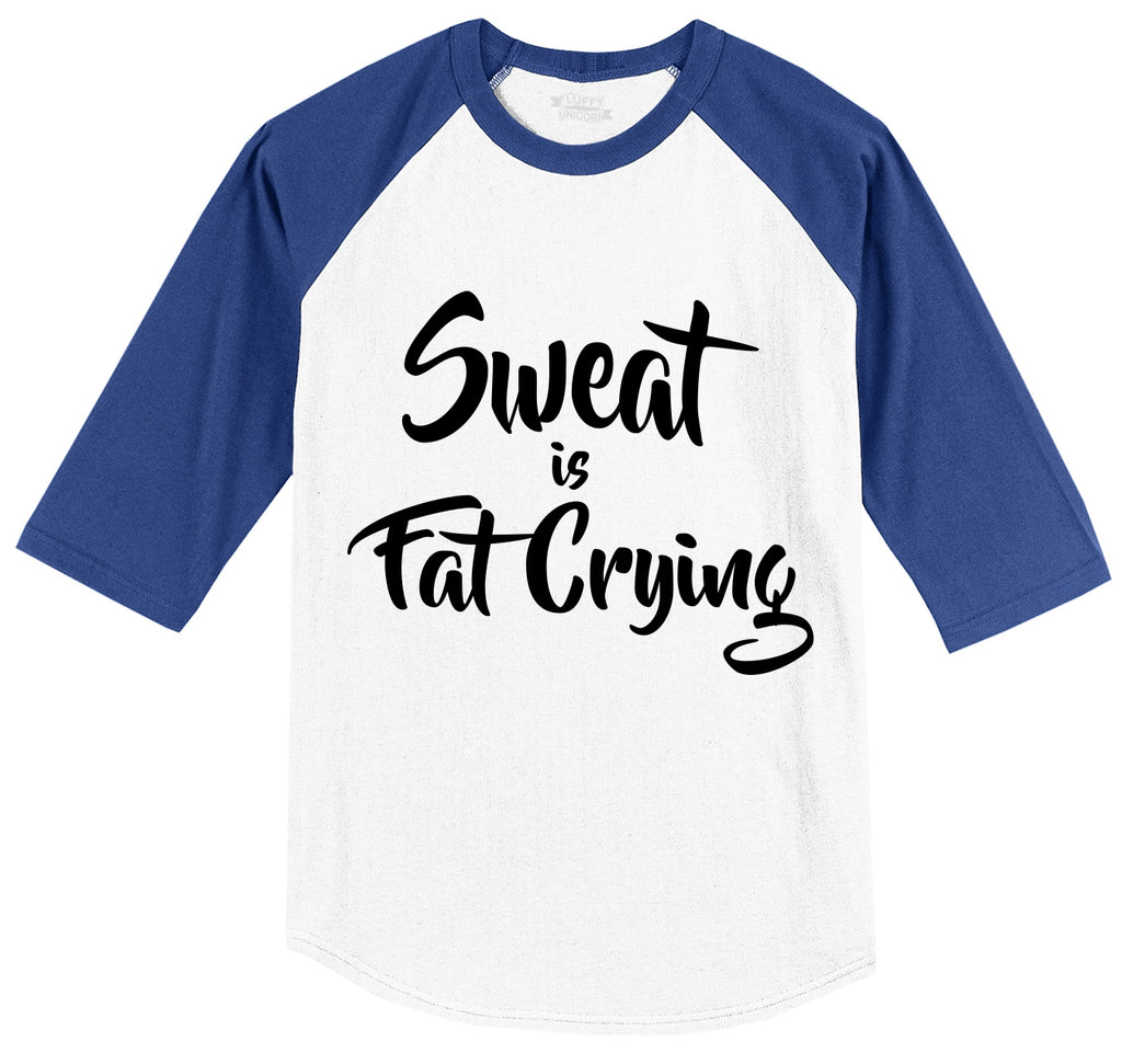Sweat Is Fat Crying Mens 3/4 Sleeve Raglan Jersey