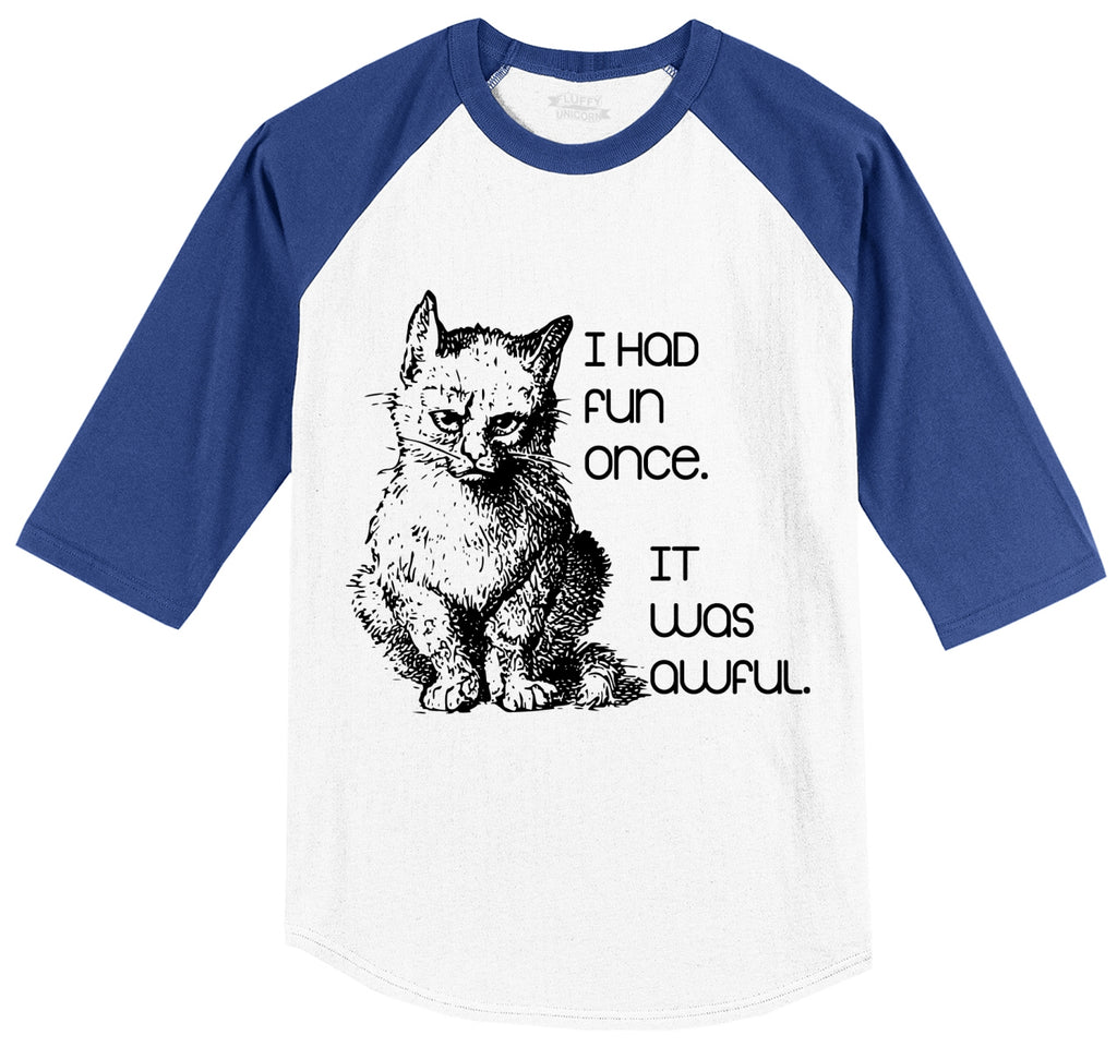 I Had Fun Once It Was Awful Mens 3/4 Sleeve Raglan Jersey