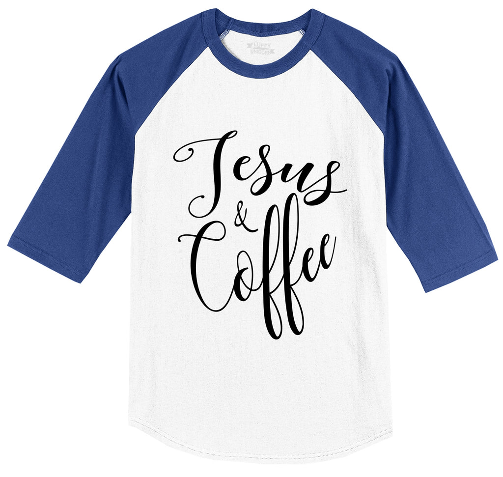 Coffee and Jesus Cute Religious Coffee Lover Tee Mens 3/4 Sleeve Raglan Jersey