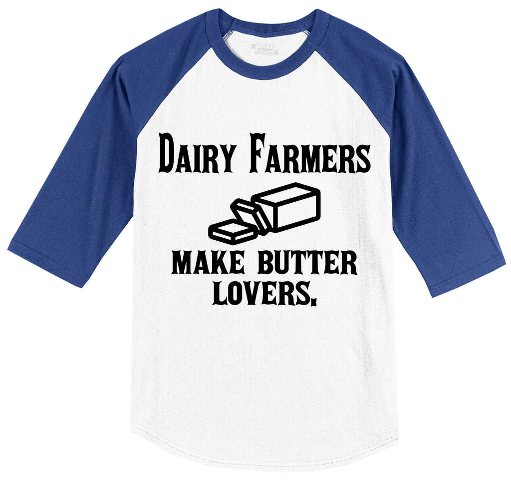 Dairy Farmers Make Butter Lovers Mens 3/4 Sleeve Raglan Jersey