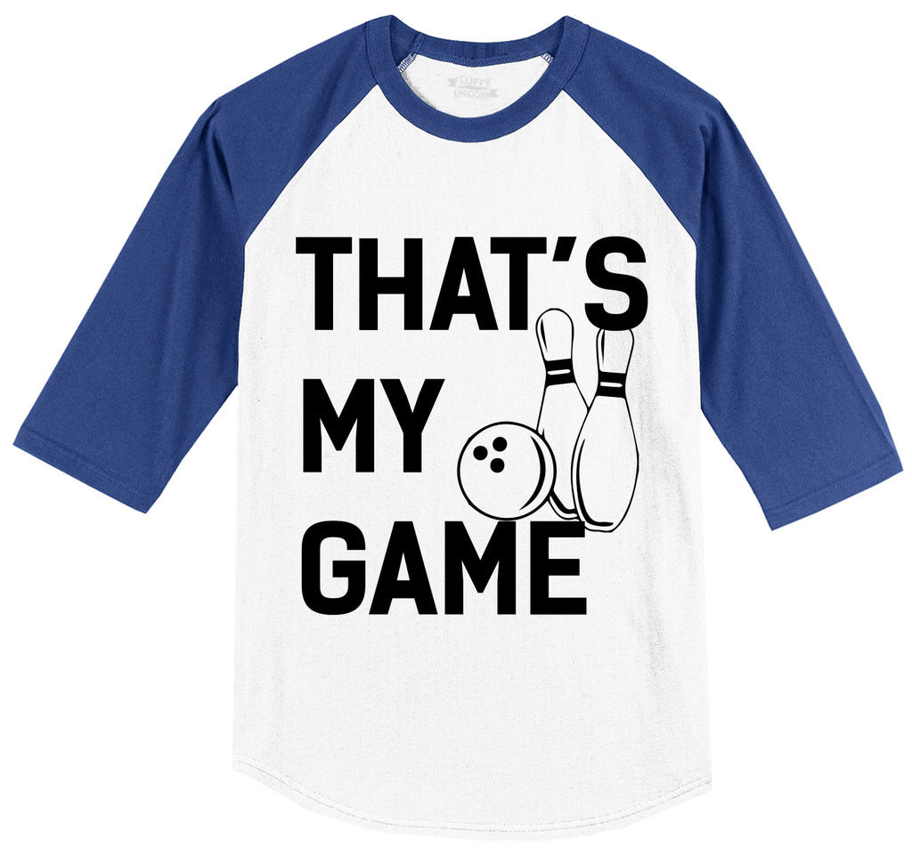 Bowling That's My Game Mens 3/4 Sleeve Raglan Jersey