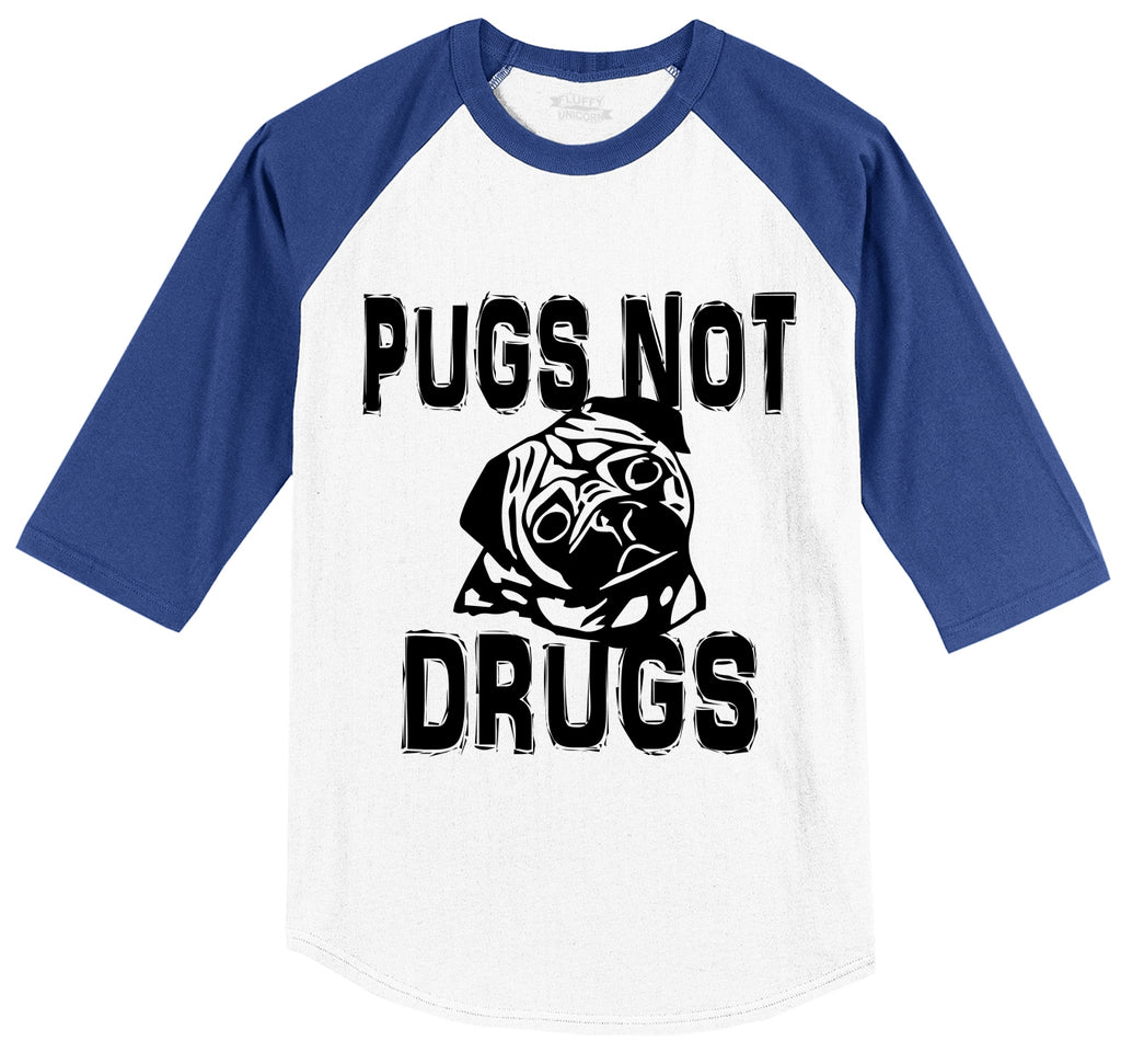 Pugs Not Drugs Funny Dog Lover Pug Lover Shirt Mens 3/4 Sleeve Raglan Jersey