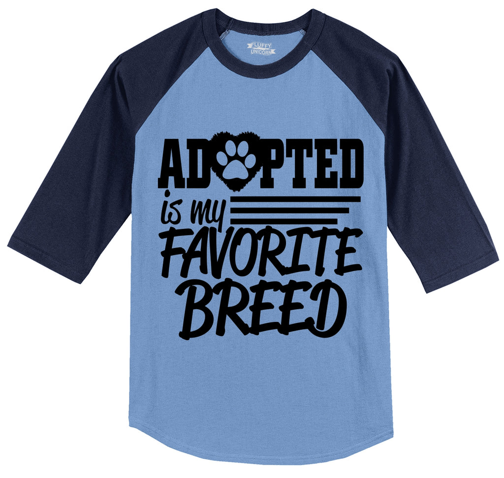 My Favorite Breed Is Adopted Mens 3/4 Sleeve Raglan Jersey
