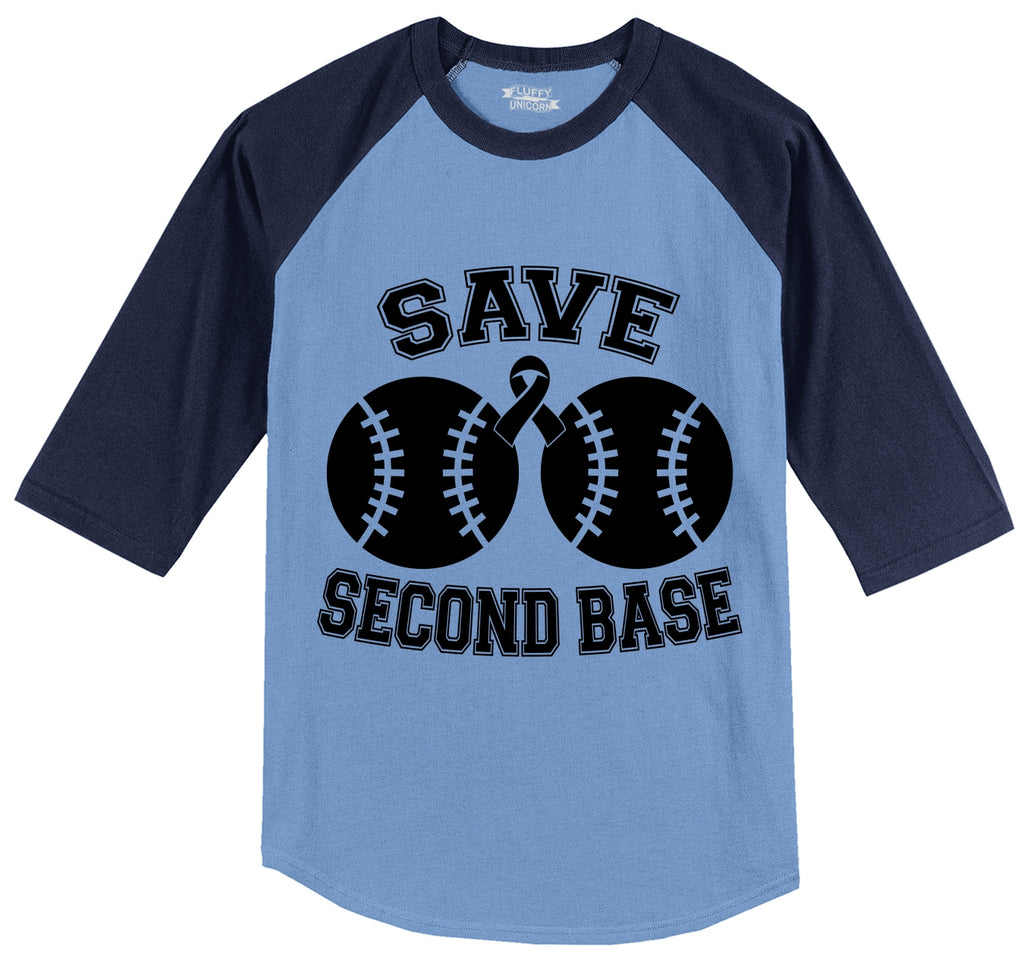 Save Second Base Cute Breast Cancer Awareness Shirt Mens 3/4 Sleeve Raglan Jersey