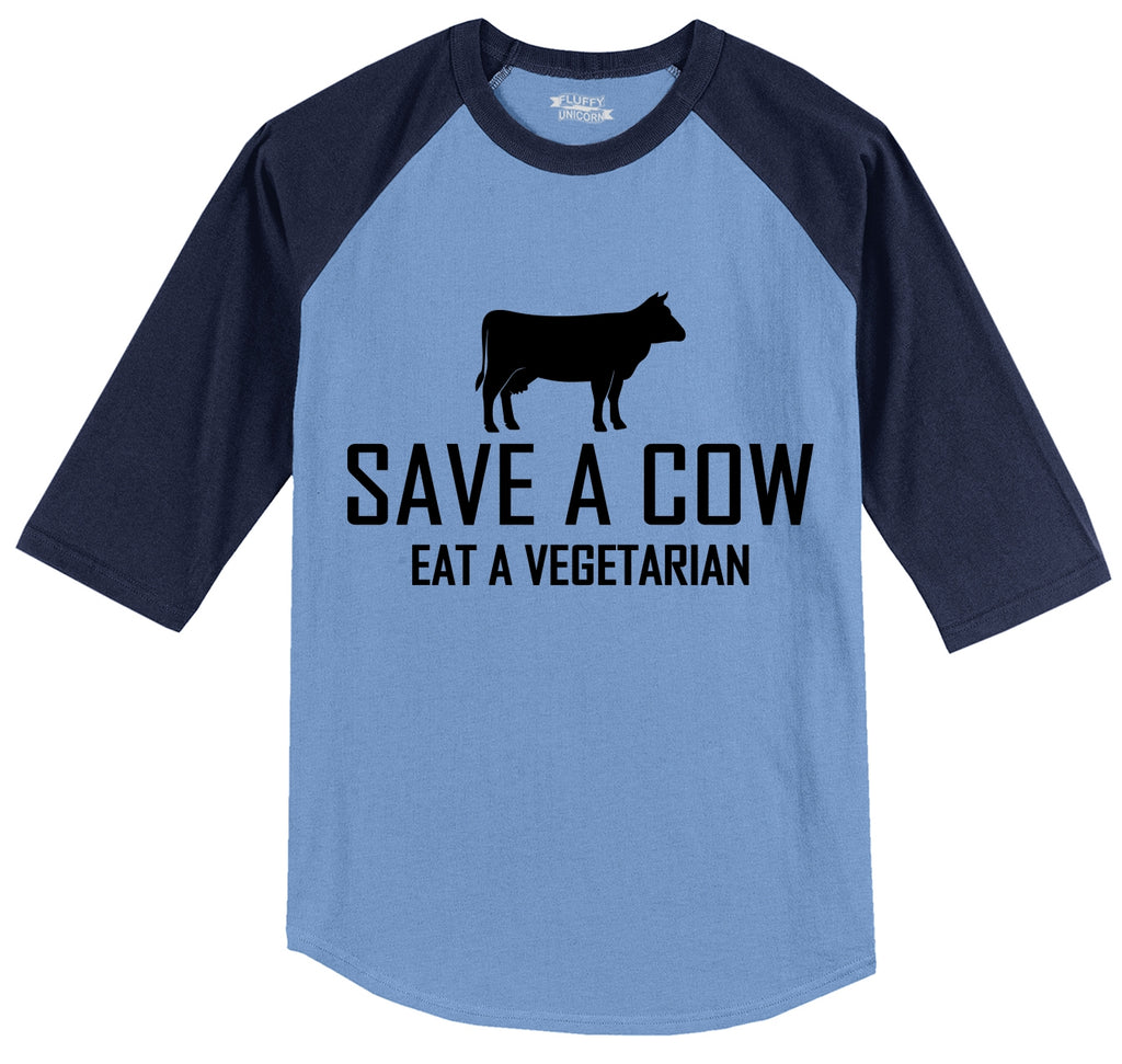 Save A Cow Eat A Vegetarian Mens 3/4 Sleeve Raglan Jersey
