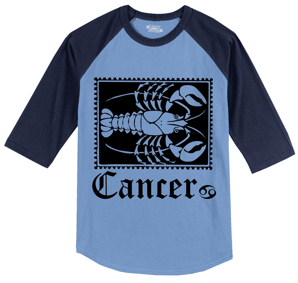Horoscope Cancer Tee Mens 3/4 Sleeve Raglan Jersey