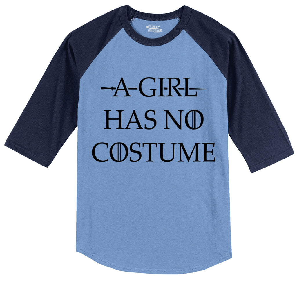 A Girl Has No Costume Mens 3/4 Sleeve Raglan Jersey