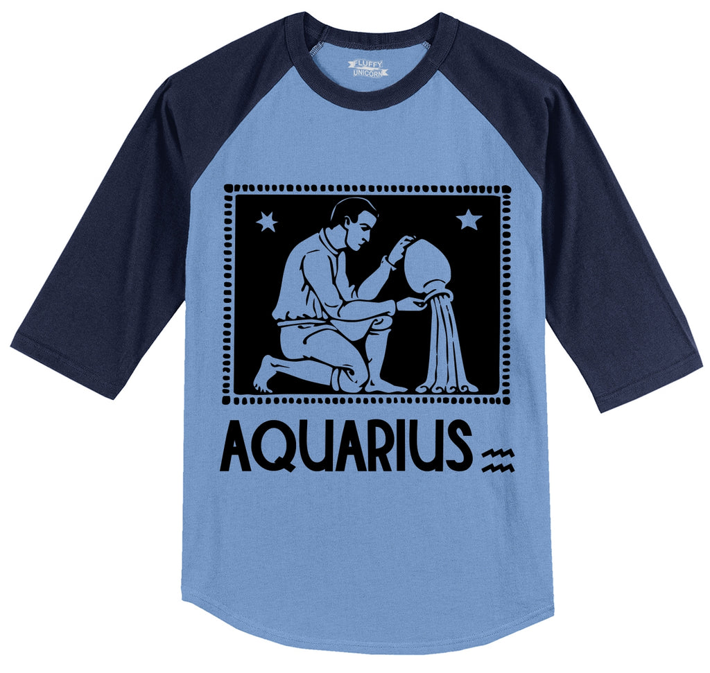 Horoscope Aquarius Tee Mens 3/4 Sleeve Raglan Jersey