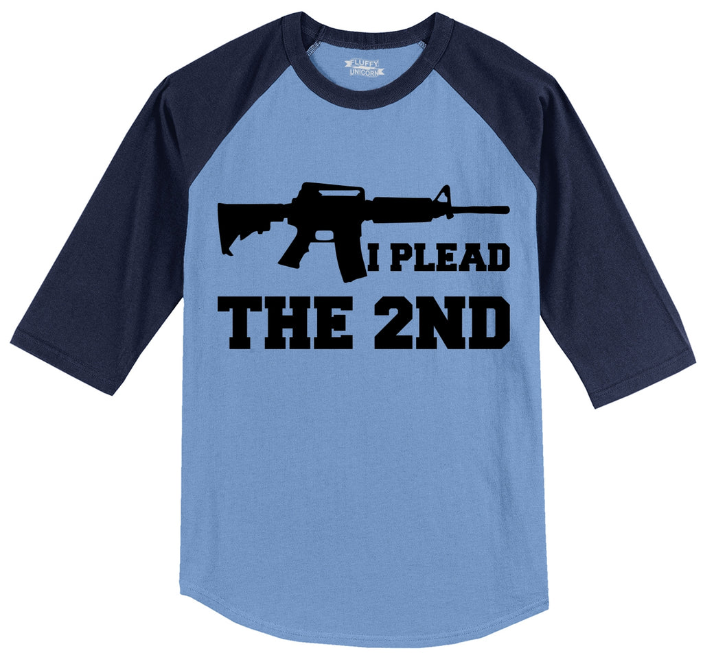 I Plead The 2nd Shirt AR15 Gun Rights Tee Mens 3/4 Sleeve Raglan Jersey