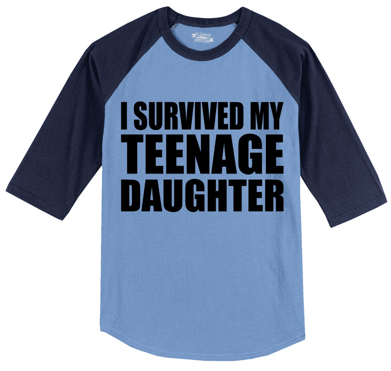 I Survived My Teenage Daughter Cute Mom & Dad Gift Funny Shirt Mens 3/4 Sleeve Raglan Jersey