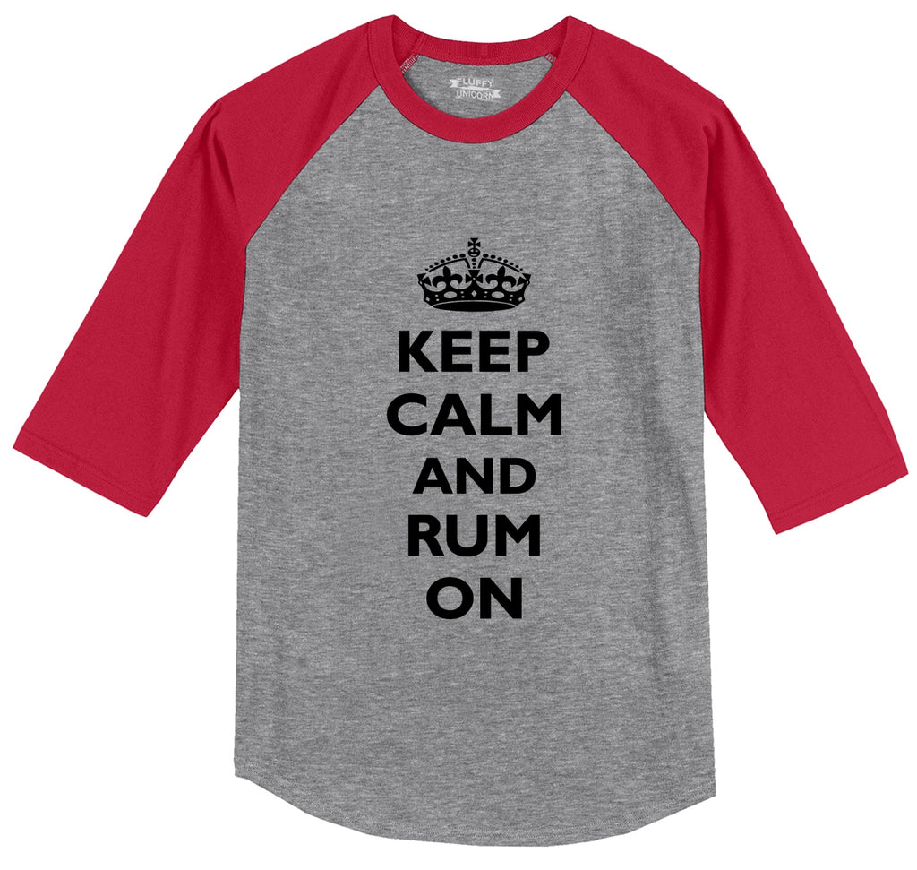 Keep Calm & Rum On Funny Alcohol Party Pirate Shirt Mens 3/4 Sleeve Raglan Jersey