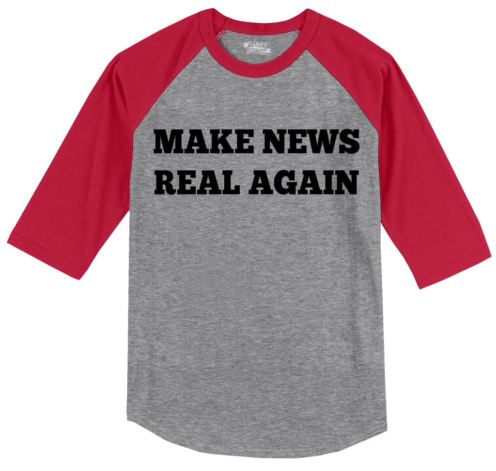 Make News Real Again Funny Trump Political Tee Mens 3/4 Sleeve Raglan Jersey