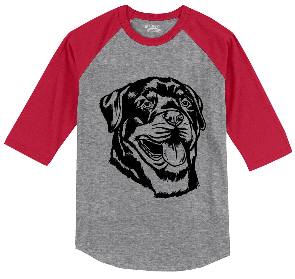 Rottweiler Dog Face Graphic Mens 3/4 Sleeve Raglan Jersey