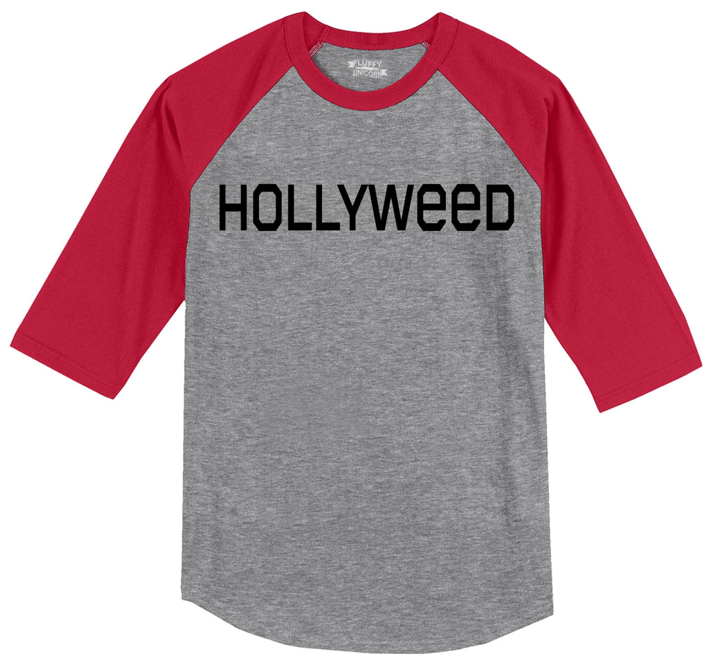 Hollyweed Funny Tee CA LA Hollywood Sign News Weed Stoner Cali Gift Tee Mens 3/4 Sleeve Raglan Jersey