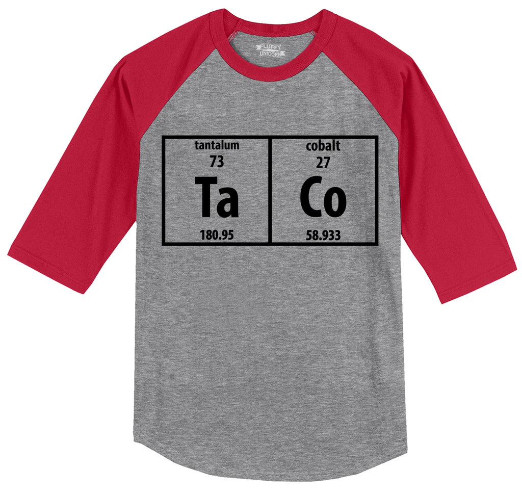 Taco Periodic Table Funny Science Shirt Geek Nerd College Mens 3/4 Sleeve Raglan Jersey