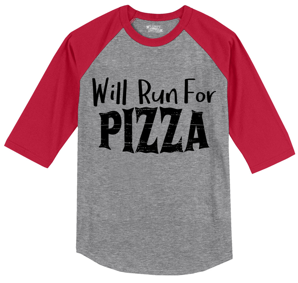 Will Run For Pizza Mens 3/4 Sleeve Raglan Jersey