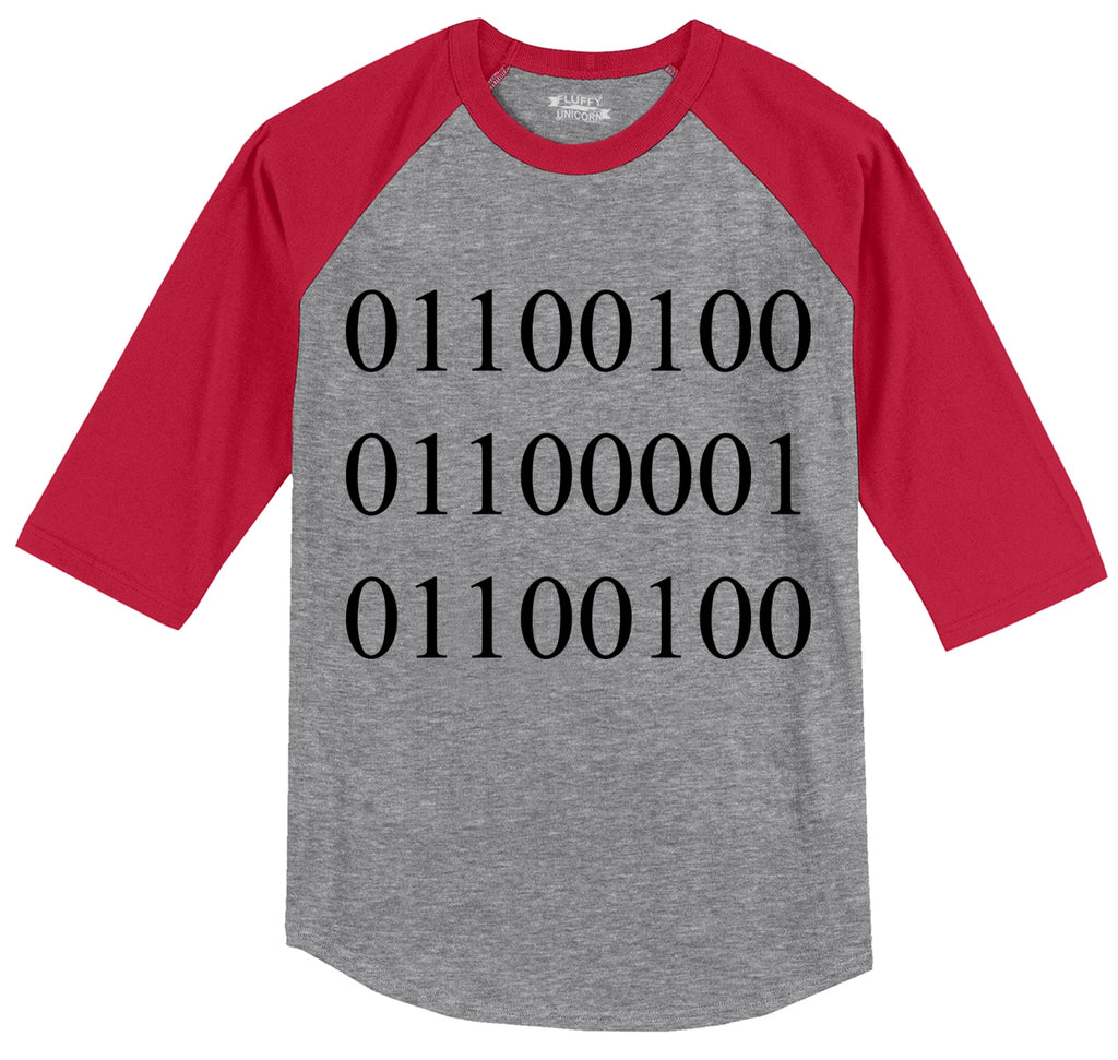 Binary Dad Mens 3/4 Sleeve Raglan Jersey