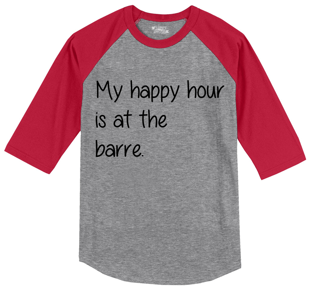 My Happy Hour Is At The Barre Mens 3/4 Sleeve Raglan Jersey