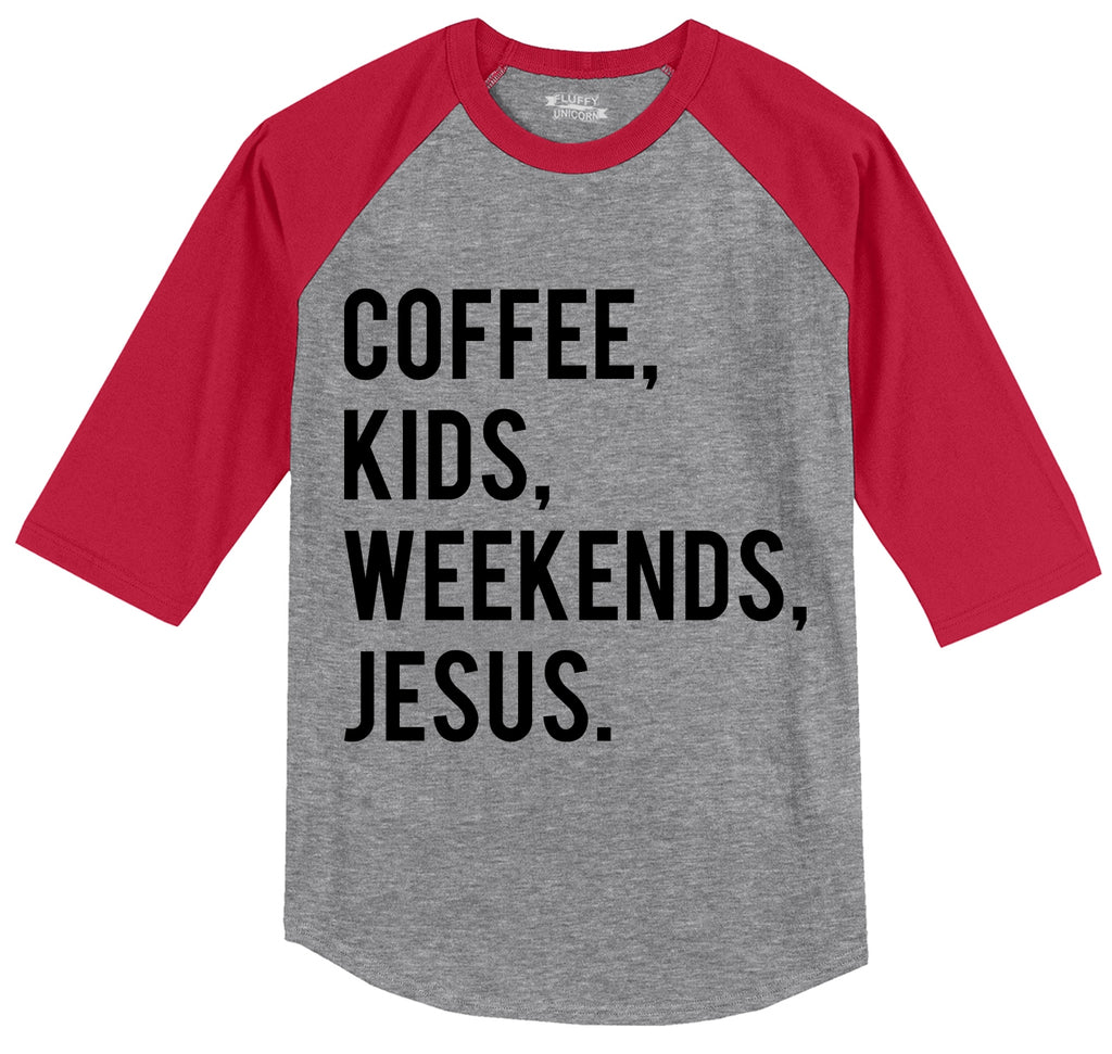 Coffee Kids Weekends Jesus Mens 3/4 Sleeve Raglan Jersey