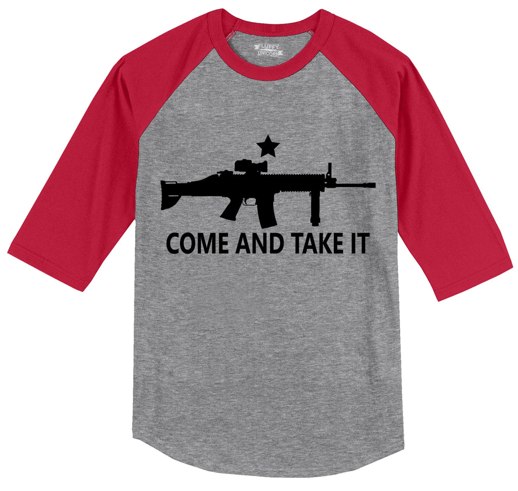 Come And Take It T Shirt Gun Lover Ar15 Rights 2nd Amendment Gift Tee Mens 3/4 Sleeve Raglan Jersey