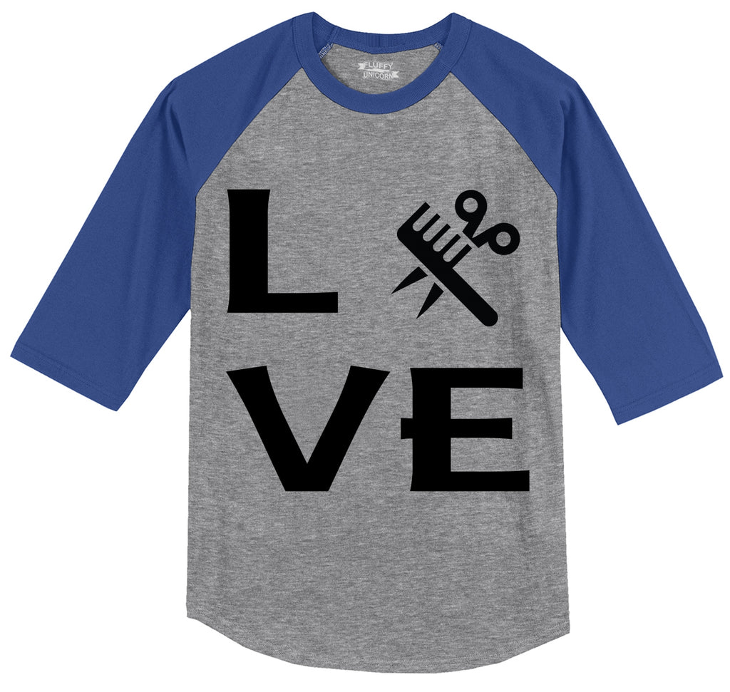 Love Hairstylist Cute Barber Gift Tee Mens 3/4 Sleeve Raglan Jersey