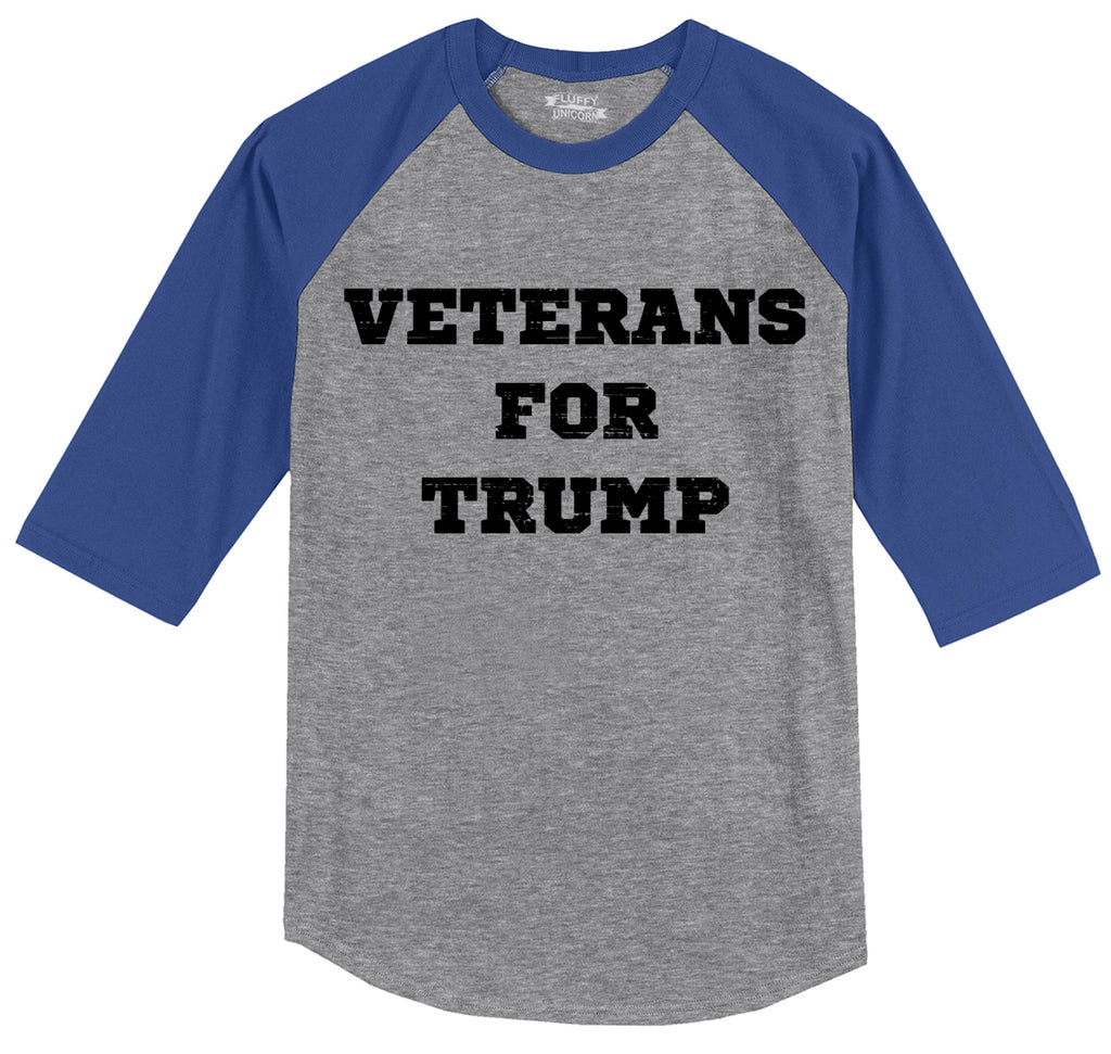 Veterans For Trump Mens 3/4 Sleeve Raglan Jersey