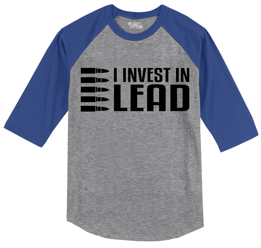 I Invest In Lead Mens 3/4 Sleeve Raglan Jersey