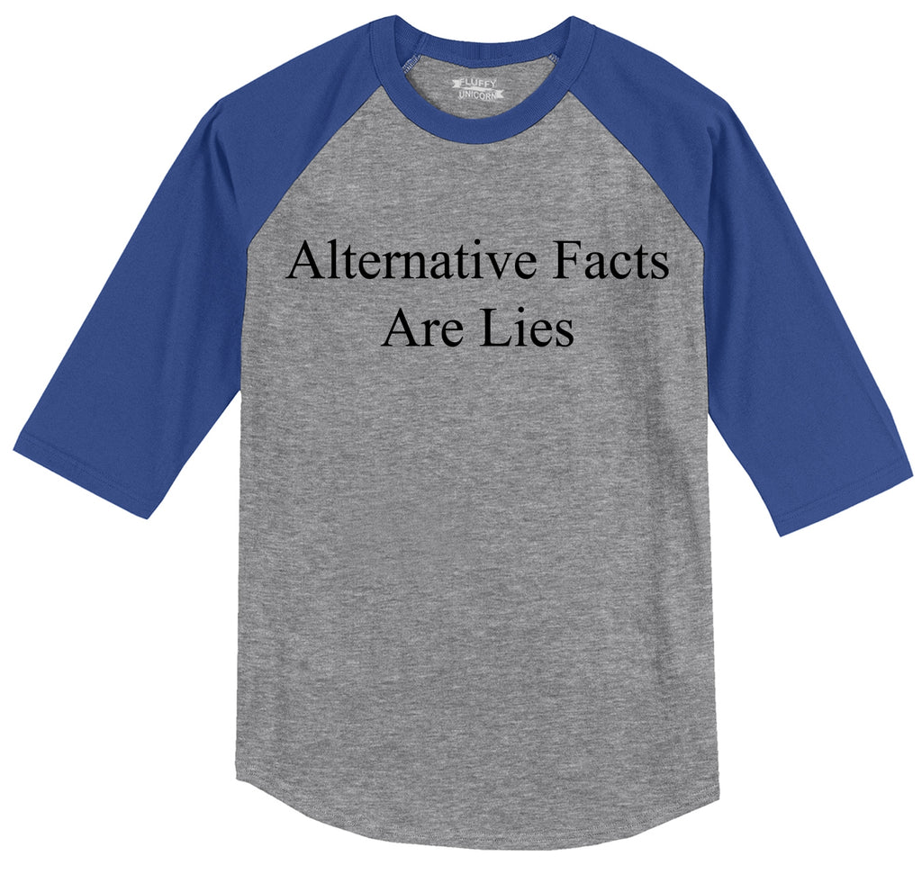 Alternative Facts Are Lies Mens 3/4 Sleeve Raglan Jersey