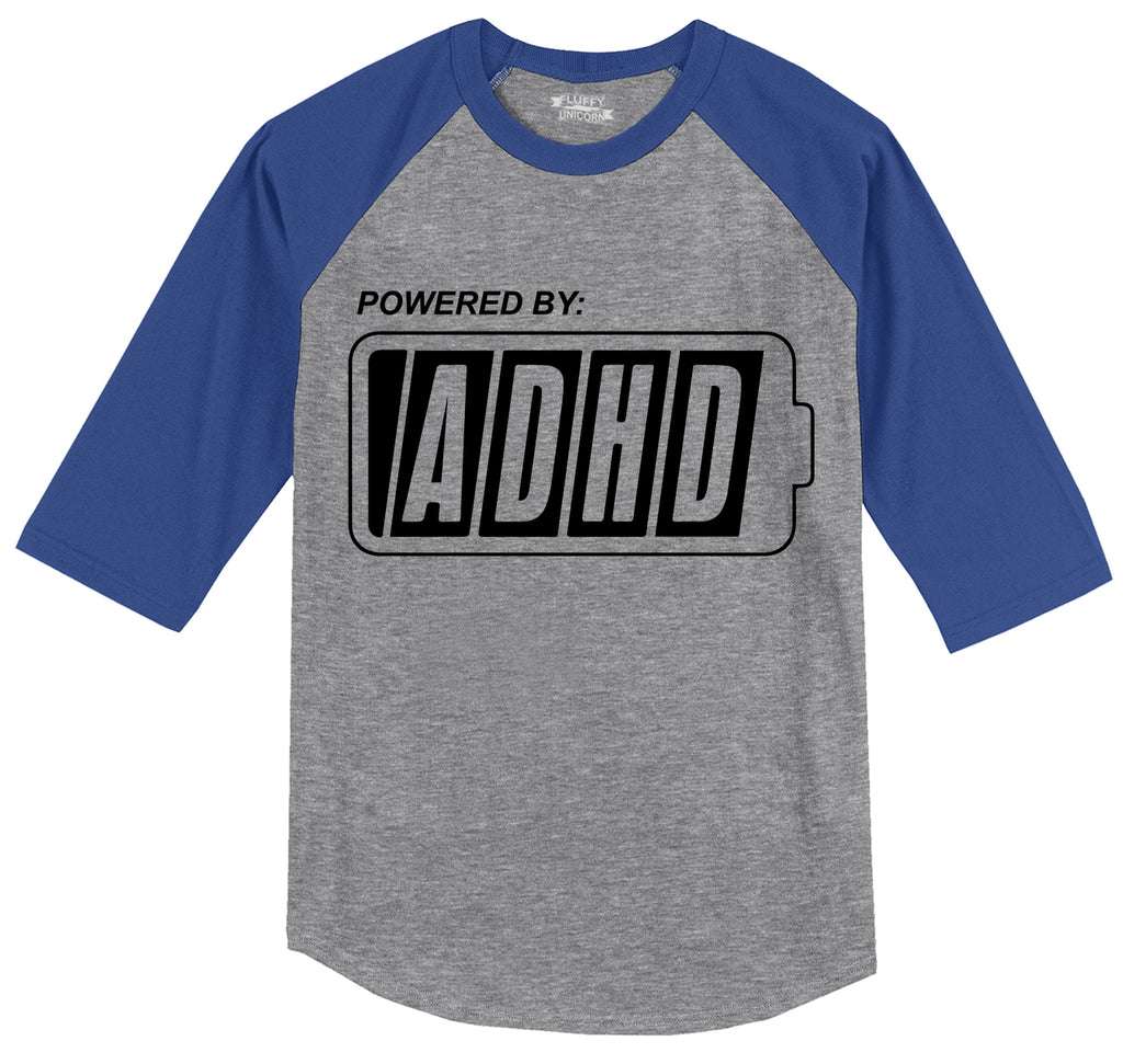 Powered By ADHD Funny ADD Shirt Mens 3/4 Sleeve Raglan Jersey