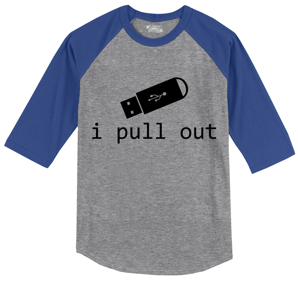 I Pull Out USB Mens 3/4 Sleeve Raglan Jersey