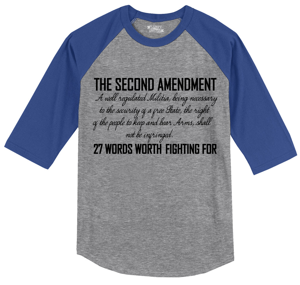 The Second Amendment Words Worth Fighting For Mens 3/4 Sleeve Raglan Jersey