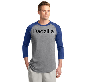 Dadzilla Tee Father's Day Valentine's Day Husband Dad Gift Tee Mens 3/4 Sleeve Raglan Jersey