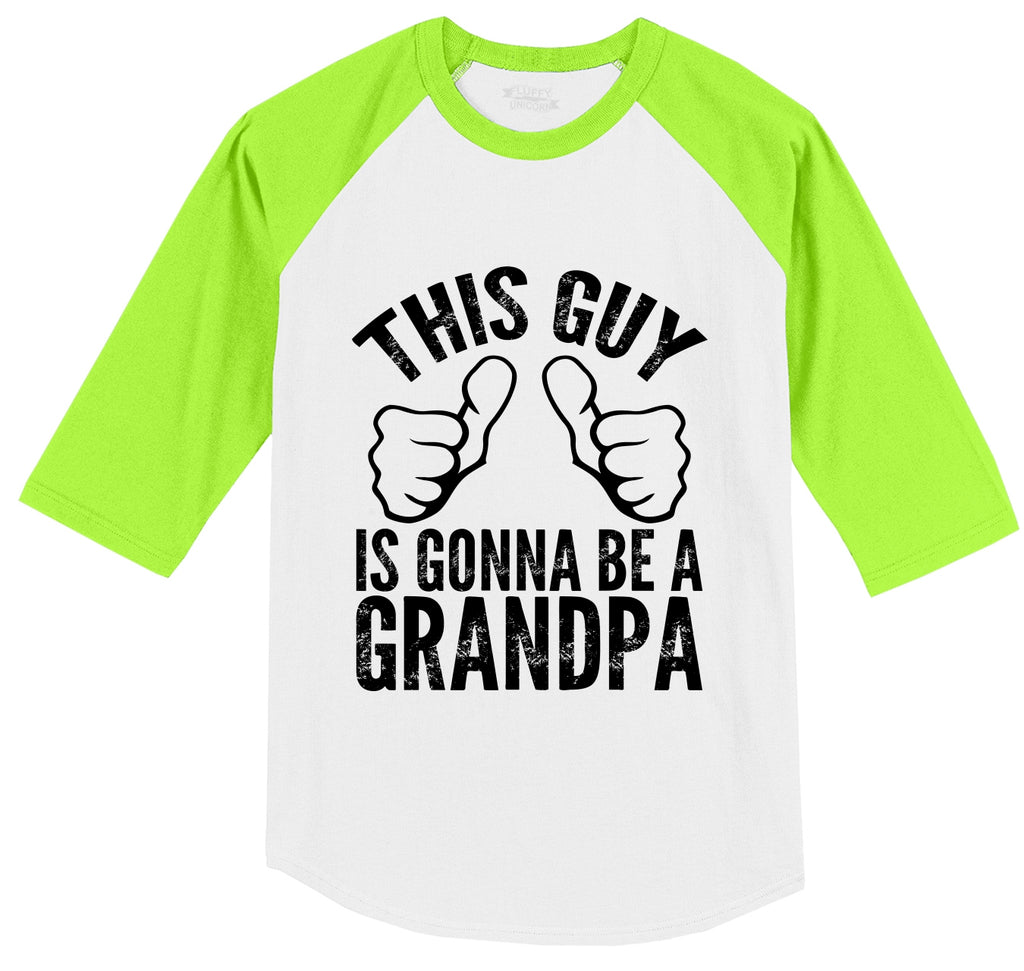 This Guy Is Gonna Be A Grandpa Mens 3/4 Sleeve Raglan Jersey