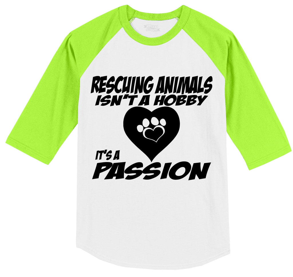 Rescuing Animals Is A Passion Mens 3/4 Sleeve Raglan Jersey