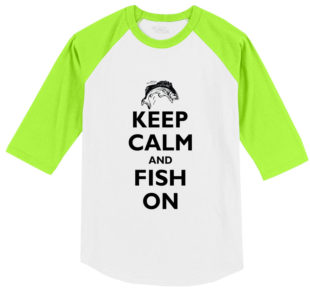 Keep Calm and Fish On Mens 3/4 Sleeve Raglan Jersey